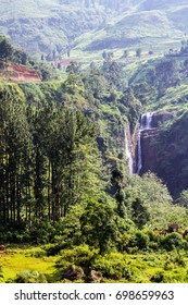 Beautiful Devon waterfall in the jungle of Nuwara Eliya, Sri Lanka.