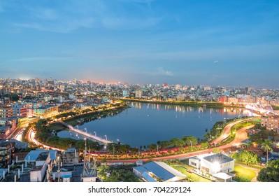 Beautiful Dhaka City's Landmark - Urban Night Buildings Landscape Skyline Dhaka, Bangladesh - Drone Birds Eye View