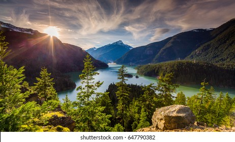 Beautiful Diablo Lake is a reservoir in the North Cascade mountains of northern Washington state, United States.
