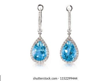Beautiful Diamond aquamarine blue turquoise topaz gemstone cushion cut pear shape teardrop drop dangle diamond earrings.