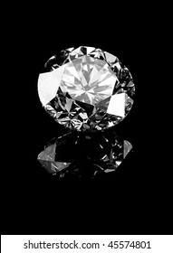 A beautiful diamond on a dark reflective surface