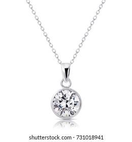 Beautiful Diamond pendant isolated on white