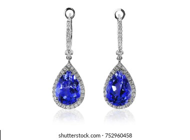 Beautiful Diamond purpe gemstone tanzanite amethyst cushion cut pear shape teardrop drop dangle diamond earrings.