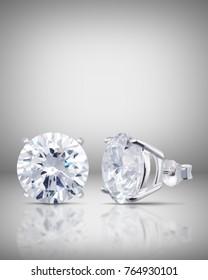 beautiful diamond Stud Earrings with Reflection