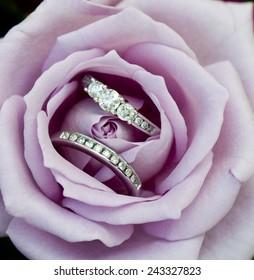Beautiful diamond wedding rings nestled in a purple rose