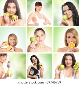 Beautiful dieting collage made of some pictures