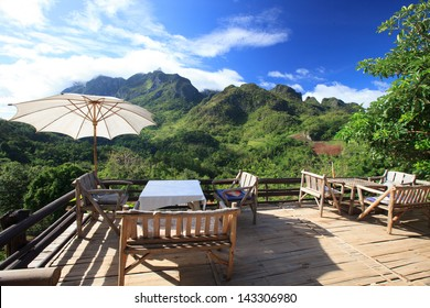 Beautiful dinner place and nice view over the mountain, Chiang Mai, Thailand