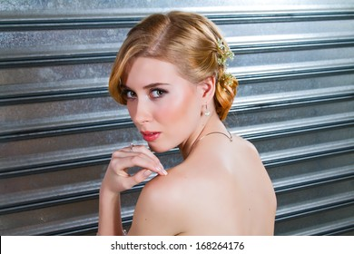 Beautiful Dirty Blonde With Long Hair Posing on Her Wedding
