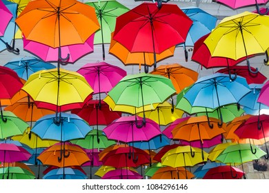 beautiful display of bright umbrellas