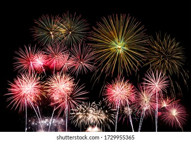 Beautiful display show of colorful fireworks on a night sky it is an important day such as New Year Day, Christmas eve, Independence Day 4th July or party event. isolated on black background.