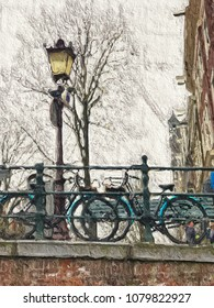 Beautiful ditital textured painting of Dutch bicycles on a bridge in Amsterdam with buildings in the background and space for text.