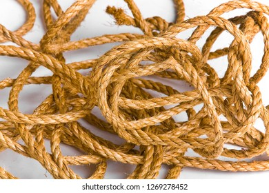 Beautiful and diverse subject. Beautiful and inexpensive, cheap rope and rope from hemp and jute on a white background.