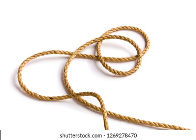 Beautiful and diverse subject. Beautiful and inexpensive, cheap rope and rope from hemp and jute on a white isolated background.