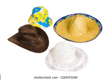 Beautiful and diverse subject. Beautiful and original look and background on interesting hats, panama, sombrero, cowboy hat on a white isolated background.