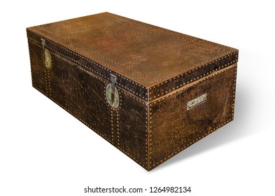 Beautiful and diverse subject. Beautiful vintage and vintage creative chest, locker and box on a white isolated background.