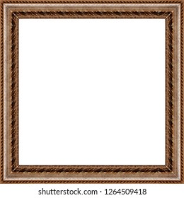 Beautiful and diverse subject. Beautiful wooden frame and baguette in vintage style for paintings and art, creativity on white insulating background.