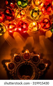 beautiful diwali lighting and diya, selective focus