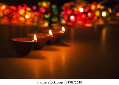 beautiful diwali lighting, selective focus