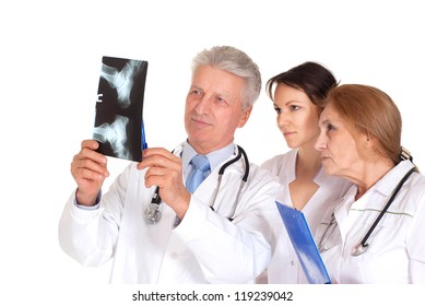 Beautiful doctor standing on a white background