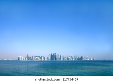 Beautiful Doha skyline through wide angle