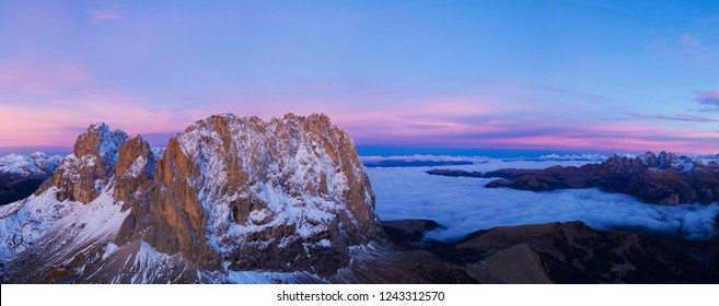Beautiful Dolomites peaks panoramic view. Aerial wide format Photography of Italian rocky landscape