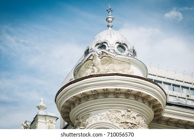 Beautiful dome with stucco molding in the center of Kazan