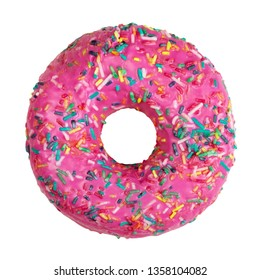 Beautiful donut decorated with colorful sprinkles isolated on white background. Flat lay. Top view