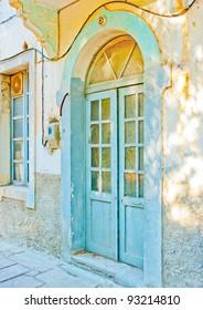 Beautiful door of a building in Kos island in Greece