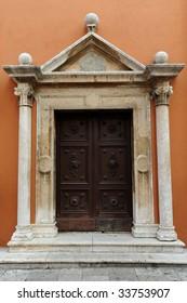 Beautiful door of historical Zadar church, Croatia