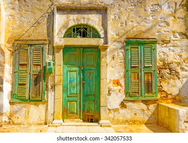 the beautiful door from an old house in Symi island in Greece