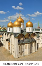 Beautiful Dormition Cathedral of Moscow Kremlin also known as Assumption Cathedral (1475-1479). Russia