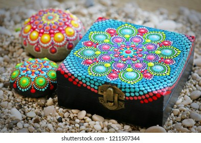 Beautiful dot mandala rocks and jewelry box
