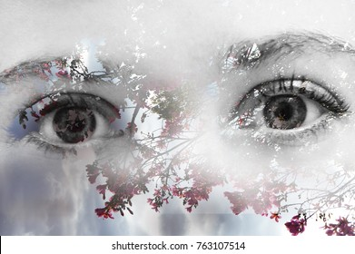Beautiful double exposure graphic design photography of a pair of deep eyes looking straight with a soft background of a tree branches with hot pink fuchsia red flowers and a blue sky background