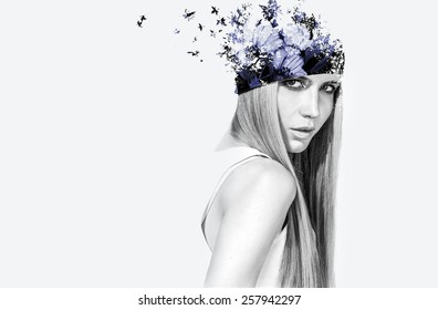 Beautiful double exposured girl with flowers on top