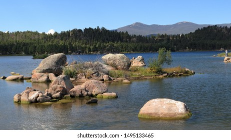 Beautiful Dowdy lake, part of Red Feather lakes recreation area near Fort Collins, Colorado, on a bright sunny day