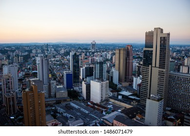 Beautiful downtown Curitiba, Brazil skyline at sunset
