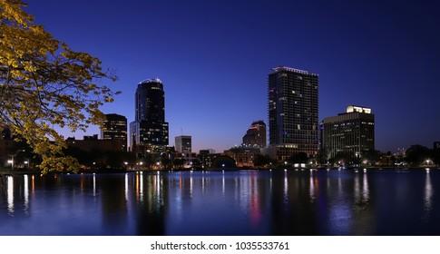 Beautiful downtown Orlando Skyline at Lake Eola, the heart of Orlando.