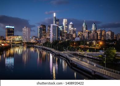 A beautiful downtown photo at night