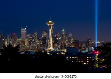 Beautiful Downtown Seattle skyline at night.