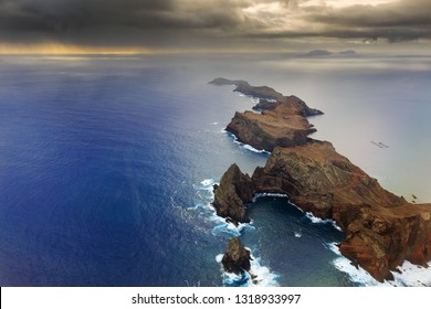 Beautiful dramatic aerial landscape panorama of the island Madeira from Ponta de Sao Lourenco nature reserve at sunrise