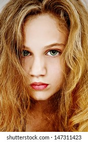 Beautiful dramatic portrait of teen girl.