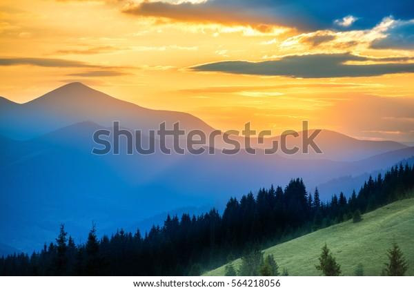 Beautiful Dramatic Sunset Mountains Landscape Sun Stock