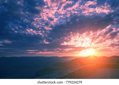 Beautiful dramatic sunset over desert