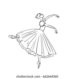 Beautiful drawing ballerina on a white background, sketch.