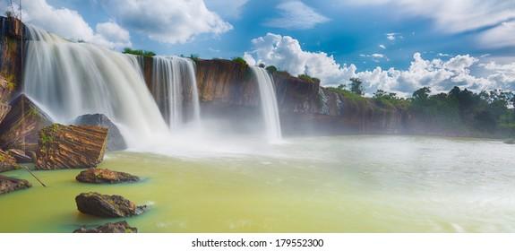 Beautiful Dray Nur waterfall in Vietnam. Panorama