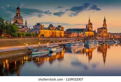 Beautiful Dresden city skyline at Elbe River and Augustus Bridge, Dresden, Saxony, Germany