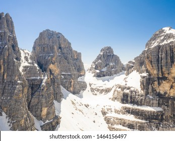Beautiful drone captures of mountain sceneries in the Italian Dolomites in Madonna di Campiglio, Trentino