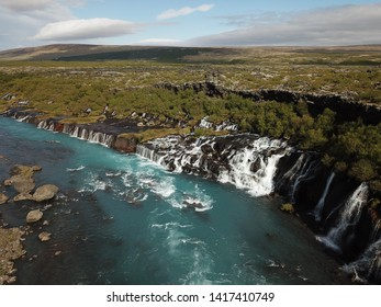 beautiful drone shot of a waterfall in Iceland