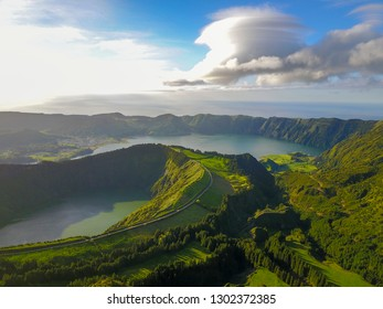 """Beautiful Drone view of Seven Cities Lake """"Lagoa das Sete Cidades"""" from Boca do Inferno viewpoint in São Miguel Island, Azores, Portugal"""