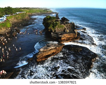 Beautiful drone view of Tanah Lot Temple, one of the famous tourism object, located at Beraban Village, West Bali.